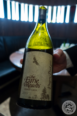 Pinot Gris, Eyrie, Dundee Hills, Oregon 2013 at The Back Room at One57, The Park Hyatt Hotel