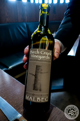 Malbec 'Birch Creek', El Corazon, Walla Walla Valley, Washington 2012 at  The Back Room at One57, The Park Hyatt Hotel