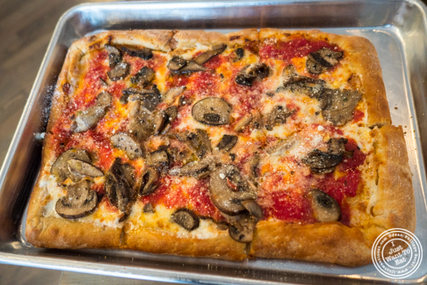 Wild mushroom pizza at Frankie and Ava's in Hoboken, NJ