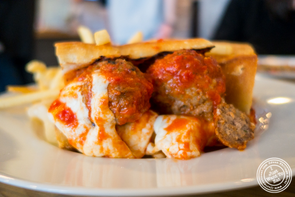 Meatball parmesan sandwich at Frankie and Ava's in Hoboken, NJ
