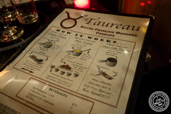 Menu at Taureau, French restaurant in the West Village, NYC, New York