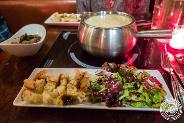 Old Swiss fondue at Taureau, French restaurant in the West Village, NYC, New York