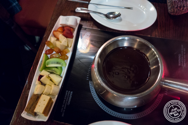Chocolate fondue  at Taureau, French restaurant in the West Village, NYC, New York