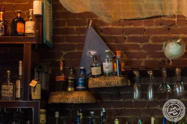 Rum bottles at Off The Hook, Raw Bar and Grill in Astoria, Queens