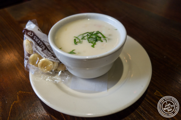 New England clam chowder at Off The Hook, Raw Bar and Grill in Astoria, Queens