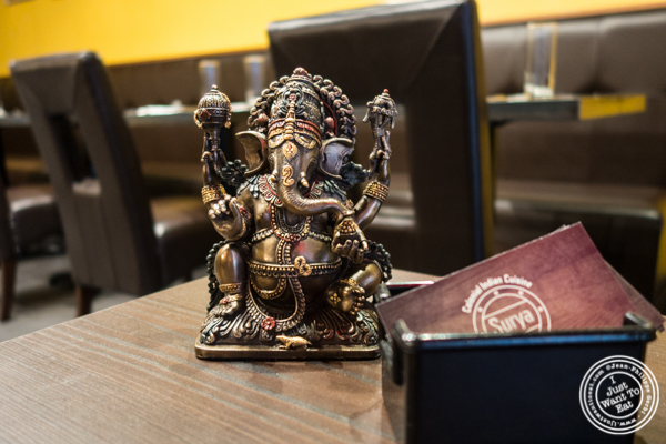 Lord Ganesha at Surya, Indian restaurant on Bleecker, NYC, New York