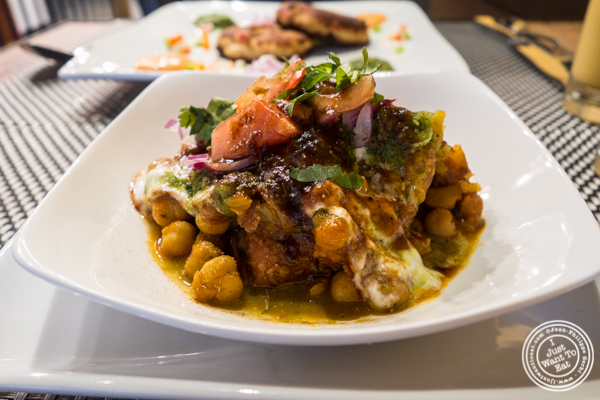 Samosa chaat at Surya, Indian restaurant on Bleecker, NYC, New York
