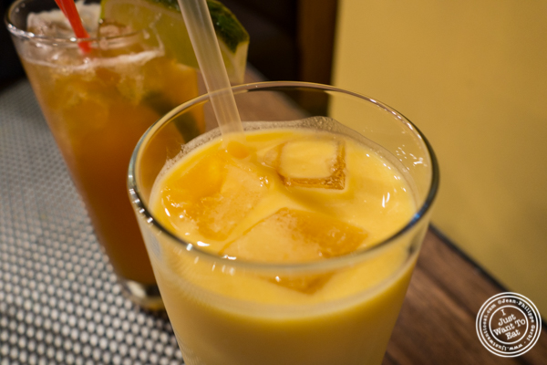 Mango lassi at Surya, Indian restaurant on Bleecker, NYC, New York