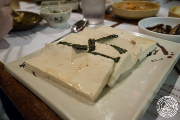 CDG tofu slices at Cho Dang Gol, Korean restaurant in NYC, New York
