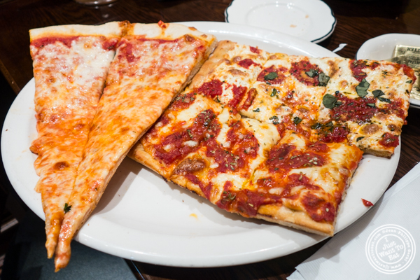 Plain and Grandma slices at Gaudio's, Pizzeria and Restaurant in Astoria, Queens