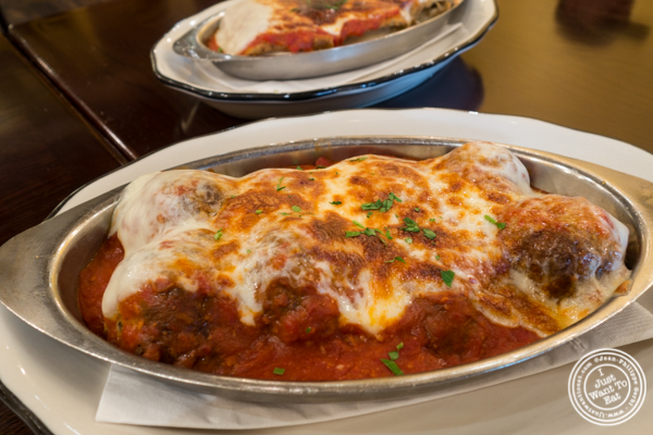 Meatballs parmigiana at Gaudio's, Pizzeria and Restaurant in Astoria, Queens