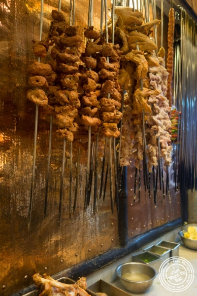 meat skewers at Bukhara in Delhi, India