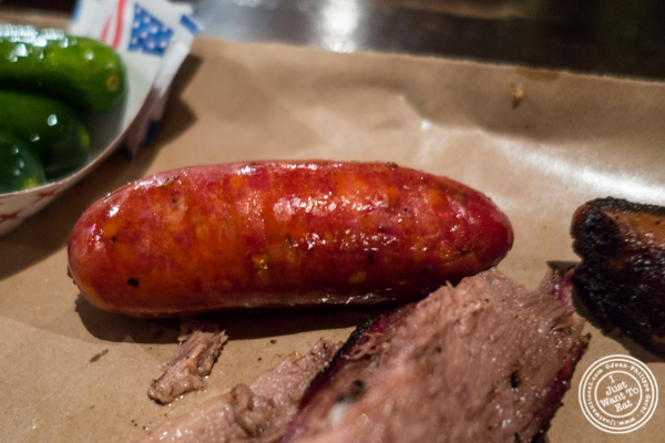 Sausage at Fette Sau, BBQ restaurant in Brooklyn