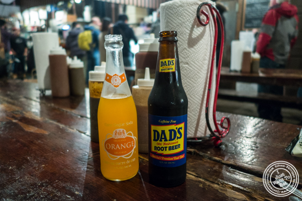 Orange soda and root beer at Fette Sau, BBQ restaurant in Brooklyn