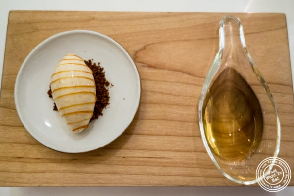 Almond ice cream and wine at Eleven Madison Park in NYC, New York