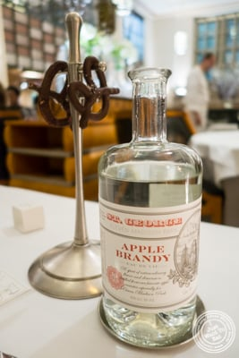Chocolate pretzels and apple brandy at Eleven Madison Park in NYC, New York