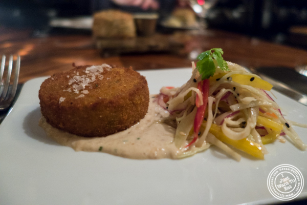Crab cake at American Cut in TriBeCa, NYC, New York