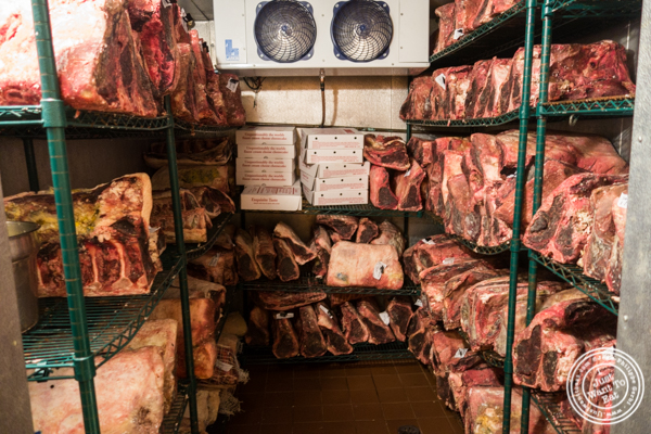 Freezer with dry aged steaks at Ben and Jack's Steakhouse in NYC, NY