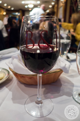 Glass of pinot noir at Ben and Jack's Steakhouse in NYC, NY