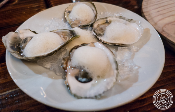 Oysters with lemon foam at Nai Tapas Bar in the East Village