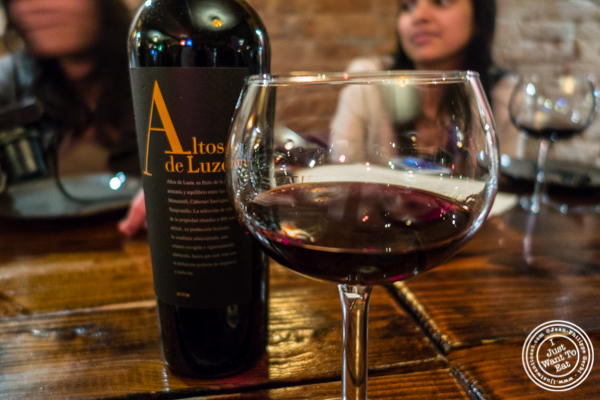 Altos de Luzon wine at Nai Tapas Bar in the East Village