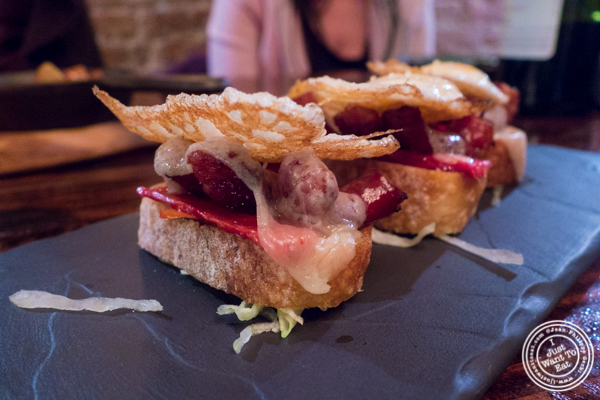 Pintxo de Chistorra at Nai Tapas Bar in the East Village