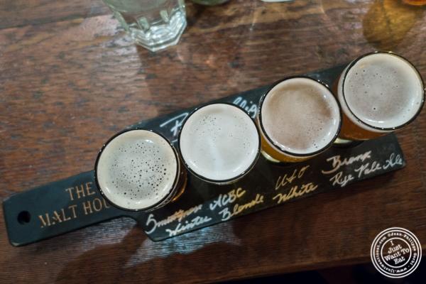 Beer flight at The Malt House in Greenwich Village