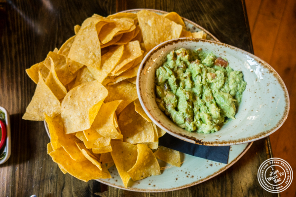 Tortilla chips and guacamole at Dos Caminos Meat Packing District in NYC, New York