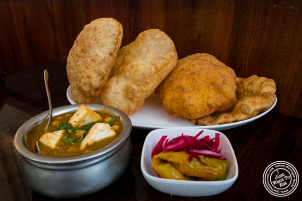 KP Bhatura platter at Kailash Parbat in Curry Hill, NYC, New York
