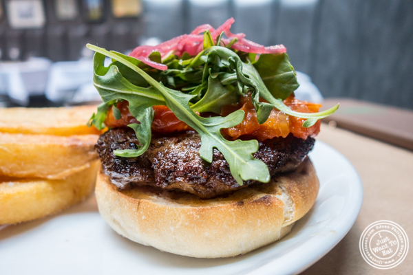 Kangaroo burger at Burke and Wills, Upper West Side, NYC, New York