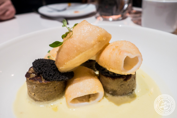 Fried calamari with eggplant mousse at Andanada 141 in NYC, New York
