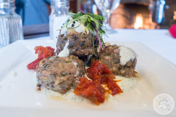 Lamb meatballs at The Stone House at Clove Lakes in Staten Island, NY