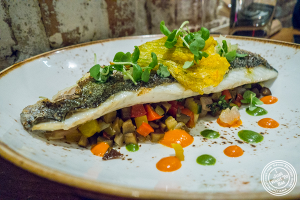 Branzino with ratatouille at TESSA, Upper West Side, NYC, New York