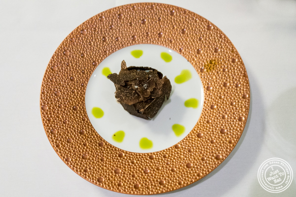 Scallop tartare with black truffle at Petrossian in NYC, New York
