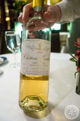 Sauternes, Chateau Laribotte 2009 from Bordeaux, France at Petrossian in NYC, New York