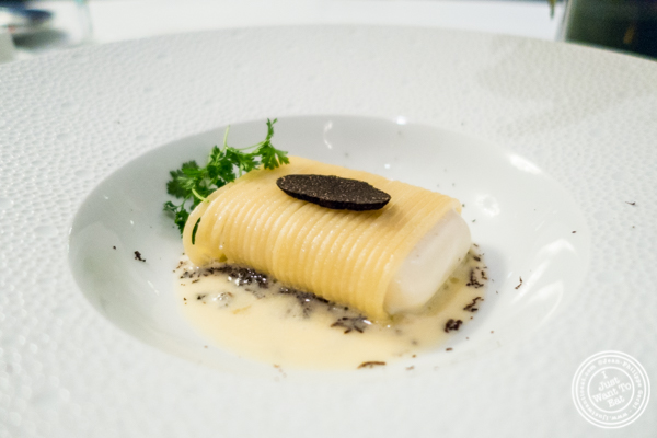 Spaghetti and parmesan with black truffle at Petrossian in NYC, New York