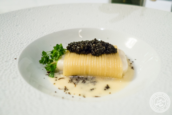 Spaghetti and parmesan with caviar at Petrossian in NYC, New York