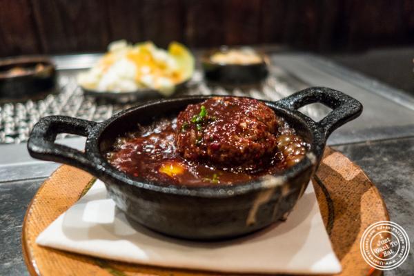 Foie gras stuffed kobe meatball at Takashi in NYC, New York