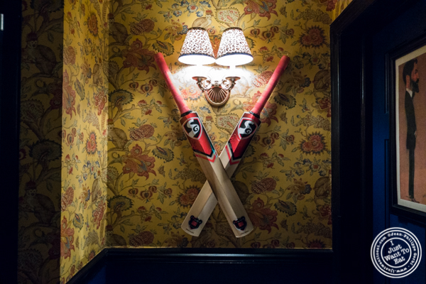 Cricket bats at The Royal Munkey in NYC, New York