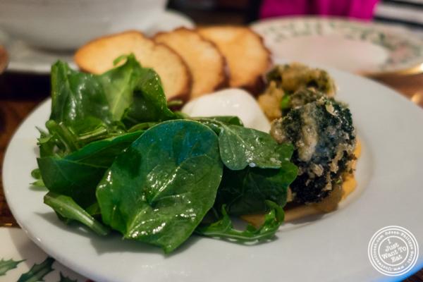 Burrata and broccoli tempura at Hunter's in Brooklyn, NY
