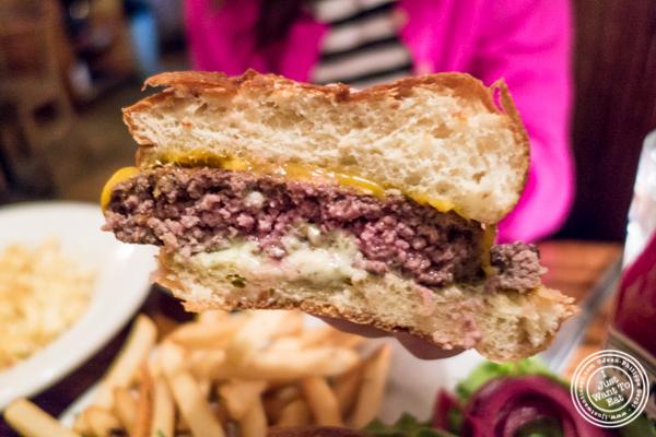Angus beef burger at Hunter's in Brooklyn, NY