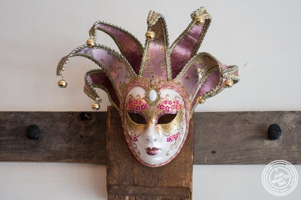 Carnival mask at Via Vai in Astoria, Queens