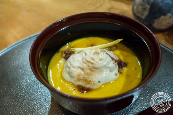 Kabocha and butternut squash soup at Brushstroke in TriBeCa