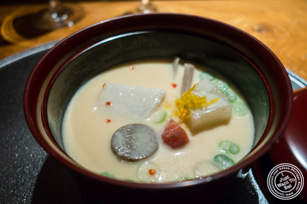 Winter vegetables in sake lees soup at Brushstroke in TriBeCa