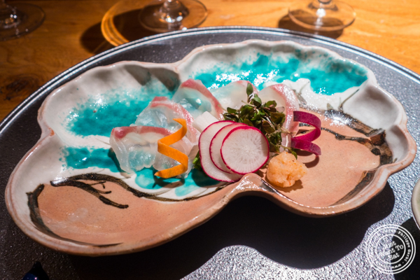 Sea bream sashimi at Brushstroke in TriBeCa