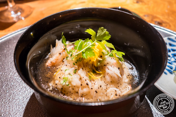 Long Island Jonah crab rice dish at Brushstroke in TriBeCa