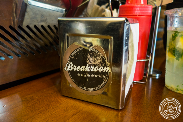 Napkin holder at Breakroom Burger and Tacos in NYC, New York