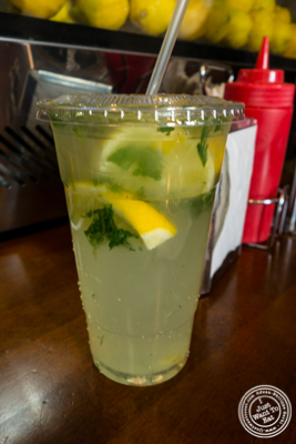 House made mint lemonade at Breakroom Burger and Tacos in NYC, New York