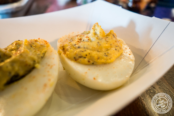 Deviled eggs at House of Que in Hoboken, NJ