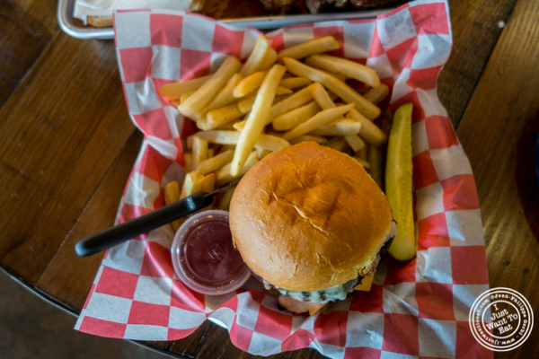 Burger and fries at House of Que in Hoboken, NJ